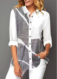 women's blouses, trendy blouses for women with competitive price Trendy Tops For Women, Blouses For Women, Collar Shirts, Shirt Blouses, Chemise Fashion, Manga 3 4, Stylish Shirts, Look Cool, Blouse Designs