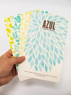 Digging the colors and organic shapes.  Azul Menus