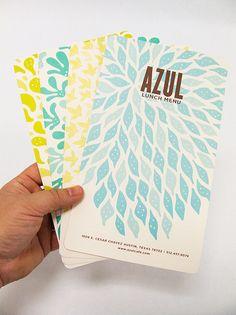 Digging the colors and organic shapes.  Azul Menus