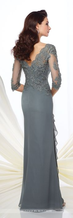 Formal Evening Gowns by Mon Cheri - Fall 2016 - Style No. 216965 - steel gray chiffon evening gown with illusion lace sleeves