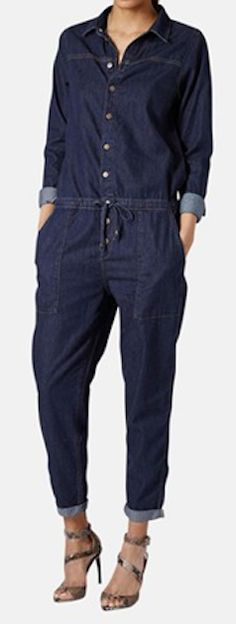 Shop for Moto Denim Jumpsuit by Topshop at ShopStyle. Now for Sold Out. Cool Outfits, Casual Outfits, Summer Outfits, Denim Fashion, Love Fashion, Estilo Jeans, Denim Jumpsuit, Overalls, All Jeans