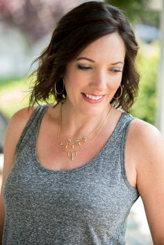 This turquoise stone layering necklace from Stella & Dot elevates a basic grey tank for a stylish fashion statement!
