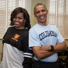 Seriously, how much more down to earth can Obama and the First Lady get? Here they are rocking their alma mater t-shirts in the White House one morning.