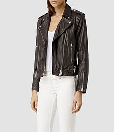Women's Addison Leather Biker Jacket (Anthracite) - product_image_alt_text_2