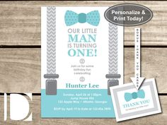 Little Man First Birthday Party Invitation Bow by DeReimerDeSign
