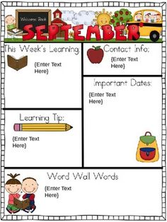 """Editable"" Monthly-themed Newsletters image 2 Notes To Parents, Letter To Parents, Parents As Teachers, Parent Letters, Kindergarten Rocks, Kindergarten Classroom, School Classroom, Future Classroom, Classroom Ideas"