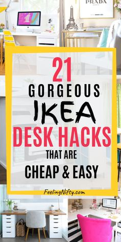 20 Awe-Inspiring Ikea Desk Hacks ideas that are Affordable and Easy. These cheap - IKEA Desk Organisation Student, Office Organization At Work, Desk Organization Ikea, Ikea Desk Storage, Decorating Office At Work, Desk With Storage, Ikea Organization Hacks, Student Storage, Printer Storage