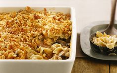 Total comfort food...Tuna Noodle Casserole. This recipe looks delicious and totally gourmet for a simple basic dish. In my house we do it simple one can mushroom soup, thin sliced cheddar, tuna, elbow macaroni and a few breadcrumbs bake for 20 mins at 350.