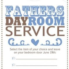 Fathers Day Room Service Door Hanger {Printables}