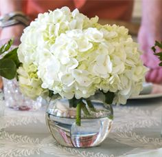 Option 1 in a clear fishbowl? We have silver ones too Simple Hydrangea Centerpiece