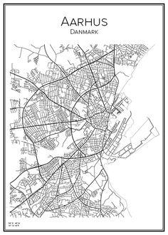 Aarhus. Danmark. Map. City print. Print. Affisch. Tavla. Tryck. Stadskarta.
