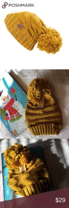 MUSTARD YELLOW TWEED SLOUCHY POM POM BEANIE Great quality C.C beanie in mustard yellow tweed Accessories Hats