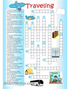 Crossword on traveling. English Spelling, Teaching English Grammar, English Games, English Fun, English Lessons, English Vocabulary, Learn English, Printable Crossword Puzzles, Comprehension Exercises