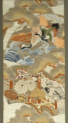 """Japanese Maru Obi 12½""""x 125"""" Silk and metallic brocading. Fan motif with cranes, waves, pines. mums, and cherry blossoms. Ivory ground, with gold and silver metallic along with tan, blue, apricot, green, white and black silk brocading. This obi is decorated for its full length on both sides."""
