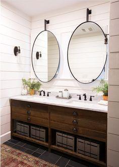 Double Vanity Bathroom Mirrors: Ideas and Inspiration | Hunker Double Vanity Bathroom, Bathroom Interior, Bathroom Decor, Vanity, Vanity Design, Round Mirror Bathroom, Bathroom Vanity Designs, Bathroom Design, Bathroom