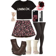 Cute girly casual teen outfit spring summer crop top skater skirt boots bow tights socks