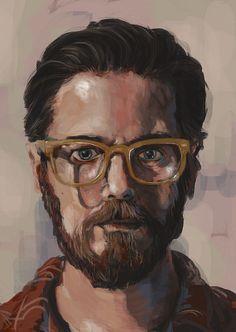 Roz Hall Self portrait painted on the iPad with Procreate