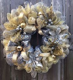 silver and gold mesh wreaths - Yahoo Image Search Results