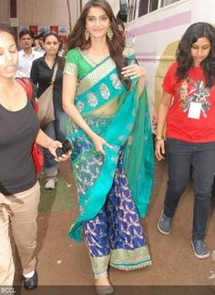 Actress Sonam Kapoor spotted in a saree