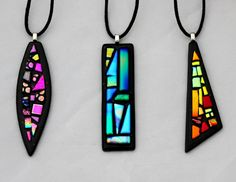 Mosaic dichroic pendants. $25 handmade by Glass Obsessions. COMING SOON!