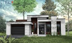 Plan offers a bungalow-style concept for anyone in search of large spaces. Bungalow-Style has 4 Bedrooms: Kitchen, dining room and living room are grouped in the open area for a ma… Modern Bungalow Exterior, Luxury Homes Exterior, Modern House Facades, Contemporary House Plans, Modern House Plans, Simple House Design, Modern House Design, Home Building Design, Villa Design
