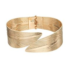 Textured Leaf Hinged Bracelet, Gold