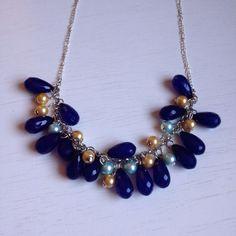 Navy Statement Necklace, Dark Blue Necklace, Navy & Gold Necklace, Girly Statement Necklace, Dark Navy Necklace, Teardrop Necklace on Etsy, $18.00