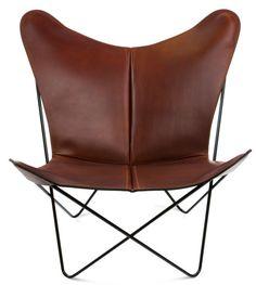 OxDenmarq Papillon Armchair - Black Frame - Leather Cognac |  https://designonline24.nl