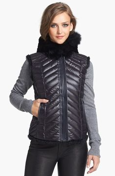 BCBGMAXAZRIA Genuine Rabbit #Fur Reversible Hooded #Vest  Get 5% cash back http://stackdealz.com/deals/Nordstrom-Coupon-Codes-and-Discounts--/