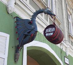 tavern sign, Veszprem, Hungary