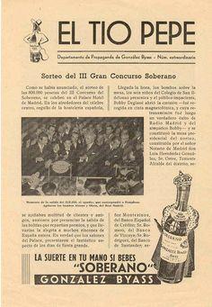 """Sorteo del III Gran Concurso Soberano en el número extraordinario del boletín del Departamento de Propaganda de González Byass. """"La suerte está en tu mano si bebes Soberano""""."""