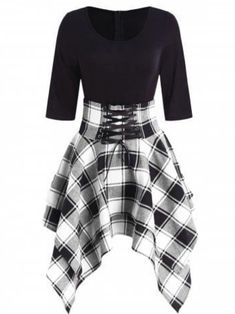 fashion dresses Women Lace Up Plaid Asymmetrical Dress O-Neck Description Occasion: Daily Style: Casual Material: Cotton,Polyester Silhouette: Asymmetrical Dresses Length: Knee-L Teen Fashion Outfits, Cute Fashion, Womens Fashion, Fashion Site, Dress Fashion, Fashion Stores, Fashion Brands, Fashion Online, Cheap Fashion