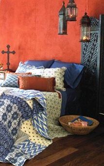 Hanging lanterns gives this bedroom a Traveler styled look-and-feel.    Find out what type of home decor style you have by taking our Stylescope quiz. Click here!