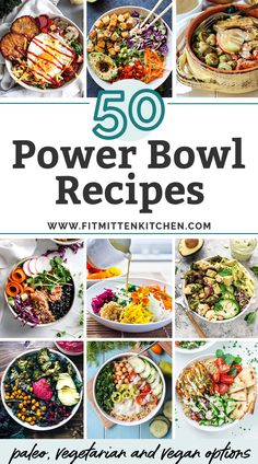 Bringing you 50 delicious power bowl recipes for all of your healthy dinner and meal prep needs! From paleo, to gluten free to vegetarian and vegan, these power bowls are waiting for you....