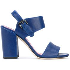 Stuart Weitzman 'Partisan' sandals (€215) ❤ liked on Polyvore featuring shoes, sandals, blue, blue shoes, leather shoes, blue leather shoes, genuine leather shoes and blue leather sandals