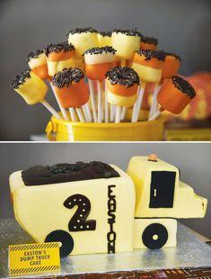 construction trucks birthday party idea pinterest | construction-birthday-cake