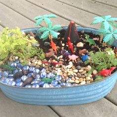 For the boys in your life, dinosaur garden in place of a fairy garden! (Or for the girls who love dinosaurs) Dinosaur Garden, Dinosaur Land, Sensory Garden, Gnome Garden, Garden Toys, Fairy Houses, Garden Projects, Outdoor Projects, Outdoor Fun