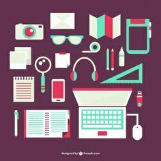 Flat office objects set