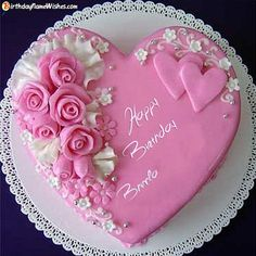 Bhimla Birthday Wishes & Cakes - Roses Birthday Cake For Lover Images With Name Heart Shaped Birthday Cake, Birthday Cake Write Name, Birthday Wishes With Name, Birthday Cake Writing, Happy Birthday Wishes Cake, Happy Birthday Cake Images, Birthday Cake With Photo, Heart Shaped Cakes, Birthday Cake Pictures