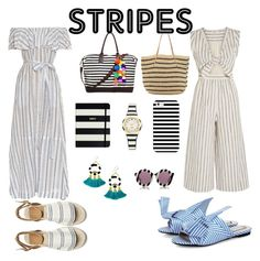 """Stripes"" by fluffydovey on Polyvore featuring Lisa Marie Fernandez, Kate Spade, JADEtribe, Casetify, Madewell, House of Holland, N°21 and Hat Attack"
