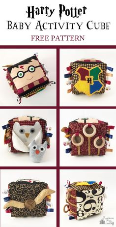 Harry Potter Fabric Activity Cube - free patterns and full instructions from bugaboocity