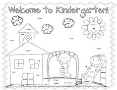 First Day Coloring Worksheet {Kindergarten} - Christine Statzel - TeachersPayTeachers.com
