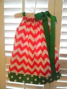 Christmas Red Chevron Girls Pillowcase Dress Girl