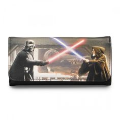 This is a Star Wars Darth Vader and Obi-Wan Photo Realism Wallet that features a cool photo of Vader battling Obi-Wan. It's fantastic! Produced by the nice folks over at Loungefly, they're well known