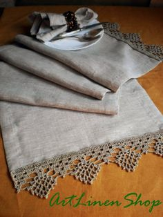 Linen table runners Crochet doily Lace tablecloth gray linen Wedding table runner Rustic table runner Wedding centerpiece - Rustic Home Lace Tablecloth Wedding, Wedding Table Linens, Tablecloth Fabric, Crochet Tablecloth, Lace Doilies, Crochet Doilies, Rustic Table Runners, Fillet Crochet, Crochet Borders