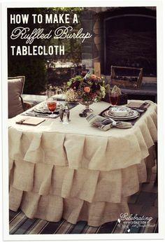 How To Make a Ruffled Burlap Tablecloth Tutorial, How to Sew a Ruffled Burlap Tablecloth | http://lovelypetcollections.blogspot.com