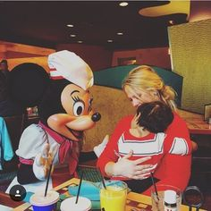 Stole this from @tylerwmerrick. Pierce was pretty scared by the characters but Minnie was so sweet. Took her time with him and played with his hair. So so sweet. He gave her a kiss in the end. by noellekilgore