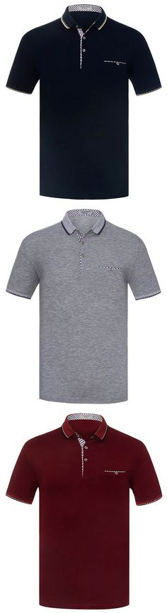 Mens Spring Summer Polo Shirt Soft Cotton Solid Color Short Sleeve Casual Tops