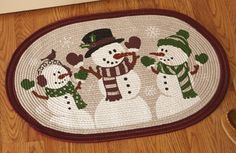 Snowmen Braided Holiday Accent Rug