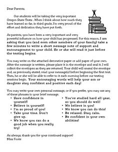 Letter asking parents to send positive messages for students beginning their state test. Keeping this in mind to provide Kara with a special note/positive message prior to her test in the spring. 3rd Grade Classroom, Future Classroom, School Classroom, Classroom Ideas, Classroom Activities, Letter To Parents, Parents As Teachers, Teaching Strategies, Teaching Tips